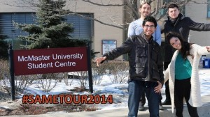 Pablo Godoy (top right) with three of the six team members who presented at McMaster University.